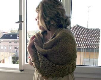 Knitting Pattern Shawl - Eternity Shawl Pattern, knit pattern lace shawl easy knitting pattern vintage look merino yarn shawl pattern