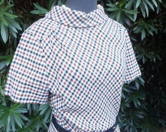 Vintage 1960s/70s Dress, Stacy Ames, Poly Knit Plaid, Career or Work, Bust 36, size 12