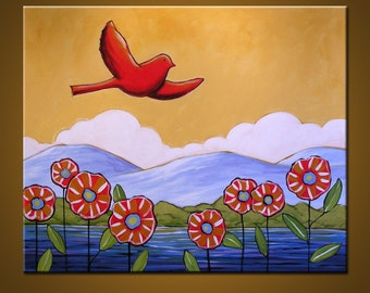Original wall art painting landscape, flowers and bird...Take to the Sky - 22 x 28, acrylic on canvas, gallery wrapped and ready to hang