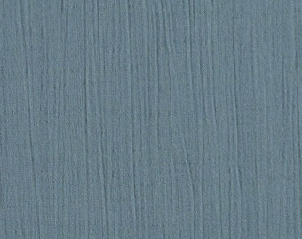 "1/2 YARD, CRINKLE CREPE, Glaucous Gull Blue, 39"" Wide Fashion or Craft Fabric, Lightweight Cotton Rayon, B9"
