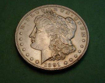 1891-CC Morgan Dollar AU  / insurance included in SH  <>ET5287