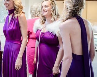 Bridesmaids dress in fuchsia and magenta colors floor length  free matching tube top