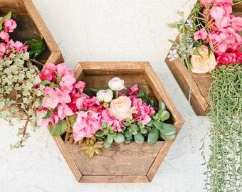 Hexagon planters,hexagon planter,vertical planer,wall planter,rustic planter,outdoor planter,indoor planter,wooden planter,set of 3