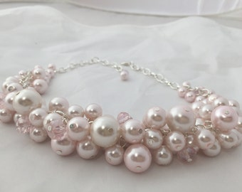 Chunky pink Pearl necklace- blush pink pearl necklace - bridesmaid necklace - chunky pearl necklace