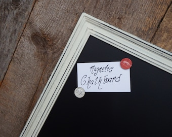 Framed Magnetic Chalkboard Ivory and Black Distressed Vintage Style Frame  - 23.5 x 17.5 in.  Magnetic Board