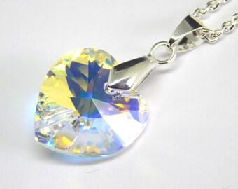 White Swarovski Heart Necklace - White Aurora Borealis Crystal - Swarovski Elements - White Heart Pendant - Rainbow Heart Necklace