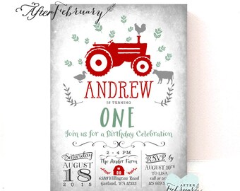 Red Tractor Birthday Invitation Holiday Christmas Birthday Invite Red Barn Birthday Invitation // Printable No.783KIDS