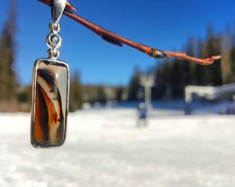 Montana Yogo Sapphire and Montana Agate in Sterling silver