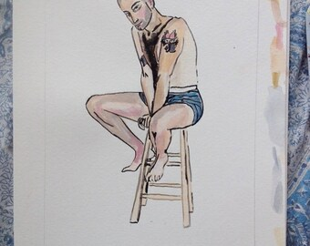 figurative portrait of DJ Louis Mandelbaum