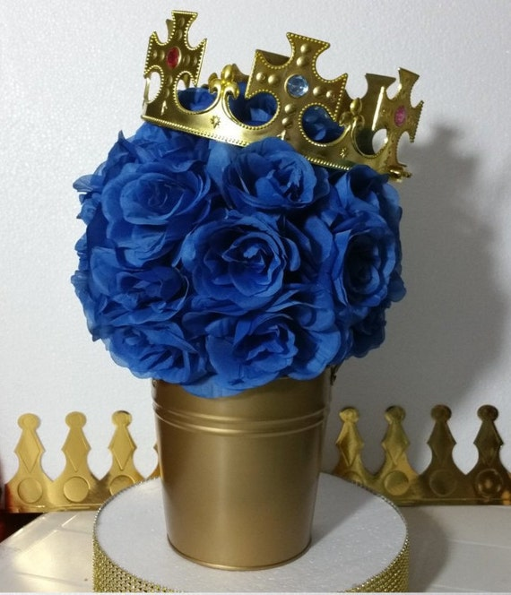 FLOWER PAIL Royal Prince Baby Shower Table Centerpiece Boys