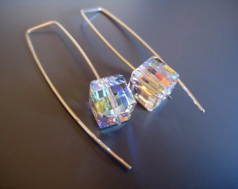 Swarovski Crystal AB cube earrings. Argentium Sterling Silver. Modern. Comemporary. Gorgeous