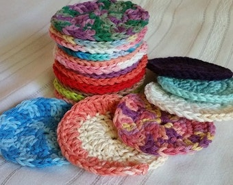 Crochet Cotton Face Scrubbies, Makeup Scrubbies, Face Scrubbie, Handmade, Cotton Makeup Remover, Multi-colored, Cosmetic accessories