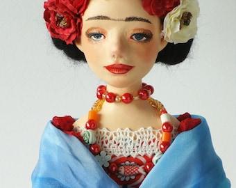 "Art doll ""Frida"" handmade doll OOAK"