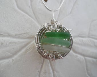 Sea Glass Nest Necklace Birds Beach Jewelry Bird Pendant Sterling