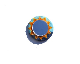 SUN MIRROR MAGNET,Orange and blue small pocket purse sun mirror fridge magnet,sunburst magnet,decorative mirror