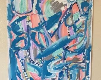 Résumé original, contemporain abstrait bleu, vagues de l'océan, Résumé funky, décor moderne mur bleu, art abstrait, intuitive expressif
