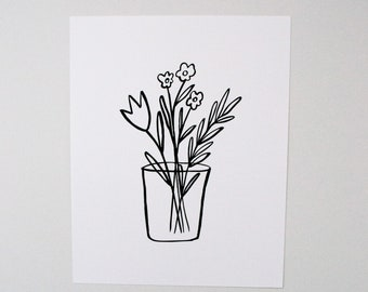 Flowers in a Vase No. 1 - Flowers in a Vase - Black and White Art - Line Art - Floral Art - Wall Decor