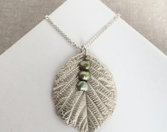 Blackberry fine silver leaf with freshwater pearls