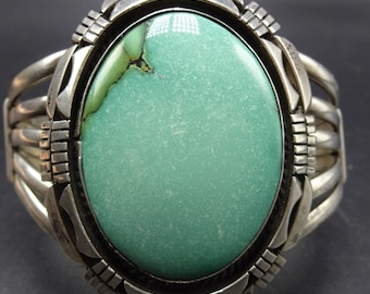 Heavy Vintage Navajo Sterling Silver & MINT GREEN VARISCITE Cuff Bracelet 81.6g