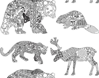 Abstract Animals - Ceramic Decals- Enamel Decal - Fusible Decal - Glass Fusing Decal ~ Waterslide Decal - 11871