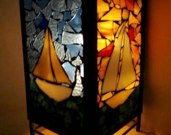 Large stained glass mosaic sailboat Lantern. Mosaic sailing scenes. Mosaic tea light holder. Boat mosaic.