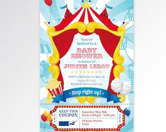Turquoise carnival / circus baby shower printable invitation, digital invitation
