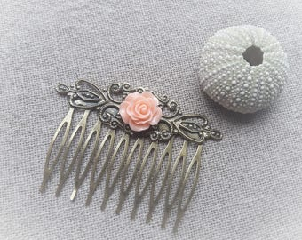 Vintage bronze comb hair comb Rose hair comb pink resin - ninette barrettes