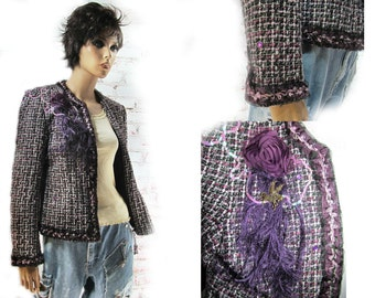 Mori Girl jacket , purple jacket , Fashion jacket, women's  blazer, feminine clothing,  one of a kind jacket,  Size P/L ,#  11