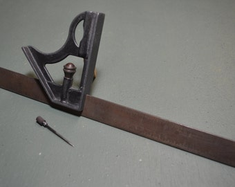 Vintage Machinist Combination Square, Early 1900s Merit Square, #304