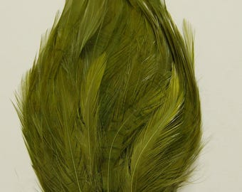 3 pcs HACKLE Feather Pads - MOSS Green