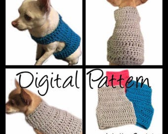 Dog Sweater - X-Small thru Medium Size CROCHET PATTERN Dog Pet Chihuahua Vest Birthday Sweater Apparel Clothes Costume Outfit