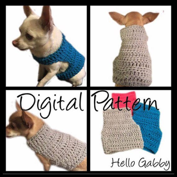 Dog Sweater X-Small thru Medium Size CROCHET PATTERN Dog Pet