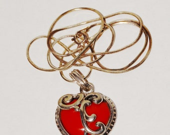 """Vintage Sterling Silver Filigree Red Heart Stone 17.5"""" Necklace."""