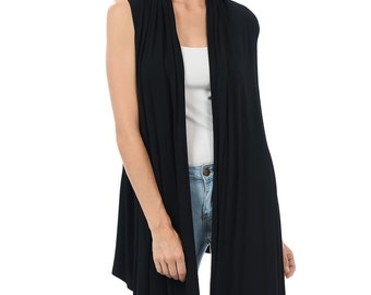 Sleeveless Asymmetric Open Front Vest Black