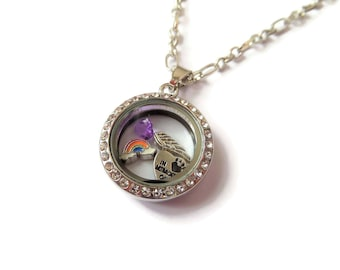 Pet memory locket, in memory pet, pet keepsake, rainbow bridge necklace, memory pet locket, floating charm locket, pet memory necklace