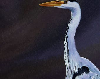 Grey Heron, Original oil painting on canvas,  gift for him gift for her, wildlife art, bird painting.