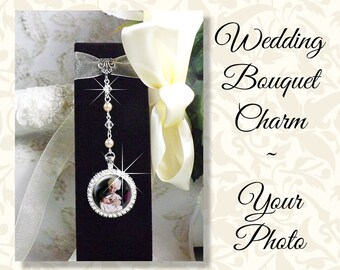 Bridal Bouquet Photo Charm in Rhinestones on Jewel Chain, Wedding Bouquet Memory Charm, Wedding Bling, Shiny Gold or Silver Tone