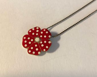 Red and white Polkadotted enameled flower necklace 1980s vintage