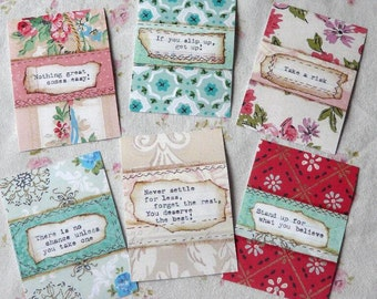 GO for IT Inspiration cards Dreams digital sheet PDF -  paper labels altered art signs tags words collage scrapbooking uprint