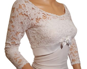 Womens pale ivory  lace and satin bolero , 3/4 sleeve in sizes 8 -20 UK