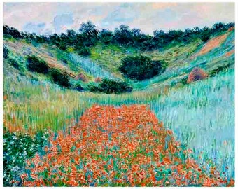 1885, Claude Monet, Poppy Field,  Fine Art print, painting oil, French, vintage, Masters,