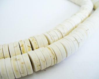 Magnesite Beads White Heishi  12x4mm