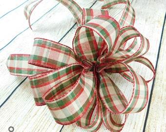 Plaid Christmas Bow, Christmas Tree Bow, Primitive Christmas Bow, Primitive Christmas, Wreath Bow, Plaid Bow, Bow For Christmas