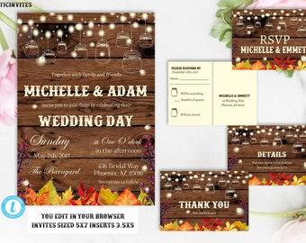 Rustic Fall Wedding Invitation, Rustic Wedding Template, Wedding Template, Fall Wedding Template, Instant Download, Wedding Template, Edit