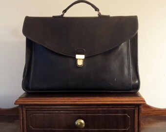 Dads Grads Sale Coach Morgan Briefcase Black Leather With Brass Touchlock Closure- U.S.A. Made- No Strap