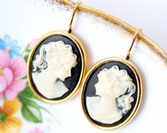 Black Cameo Earrings, Cameo Earrings, Victorian Earrings, Romantic Earrings, Gold Cameo Earrings, Small Cameo Earrings, Dangle Earrings