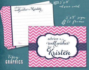 Navy & Pink Fancy Chevron Advice and Well Wishes.  Printable Cards. Any colors by Tipsy Graphics. Great for Recipe cards too