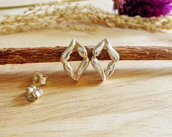 Classic Women Open 925 Silver Diamond Shape Earrings,Open Stud Earrings,Piercing Earring,Personalized Gifts,Valentine's Gifts,Gifts For Her