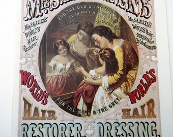 Mrs Allens Worlds Hair Restorer and Henry Millers Tobacco  Vintage Advertising Poster Size Book Plate