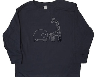 Long Sleeved Shirt - Elephant and Giraffe Shirt in Baby, Toddler, Kids Sizes - Boys or Girls Shirt - Animal Friends - Great Gift idea